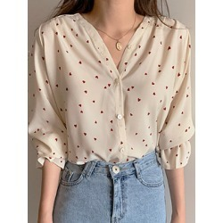 Berrylook V Neck Printed Long Sleeve Blouse online sale, sale, printing Blouses, white blouses for women, button up shirts for women