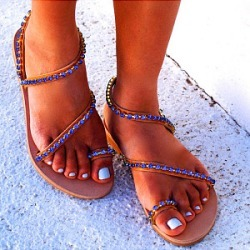 Berrylook Handmade beaded flat sandals clothing stores, clothes shopping near me,