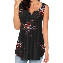 Berrylook Round Neck Buttons Floral Sleeveless T-shirt online shop, sale,