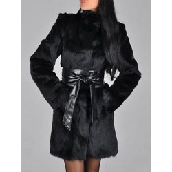 Band Collar Slit Pocket Belt Plain Faux Fur Coats