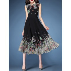 Berrylook Round Neck Floral Printed Maxi Dress cheap online shopping sites, clothing stores, Oversized Maxi Dresses, long black dress, sequin dress found on Bargain Bro India from Berrylook for $24.95