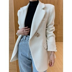 Berrylook Notch Lapel Plain Coat online clothes shopping near me velvet blazer womens blazers for women