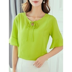 Berrylook Tie Collar Plain Bell Sleeve Short Sleeve Blouse sale, online sale, Solid Blouses, blouses for women, one shoulder tops