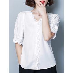 Berrylook V Neck Elegant Plain Short Sleeve Blouse shop, shoping, splice Blouses, white blouses for women, cute tops