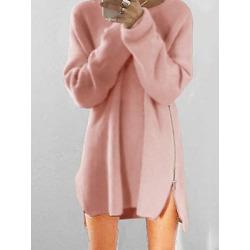 Berrylook Round Neck Side Slit Zips Plain Shift Dress online, clothing stores, plain Shift Dresses, below the knee dresses, sheath dress