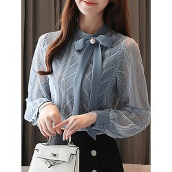 Berrylook Band Collar Elegant Lace Long Sleeve Blouse shoping, sale, splice Blouses, red top, blouses for women