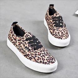 Animal Printed  Flat  Round Toe  Casual Sneakers