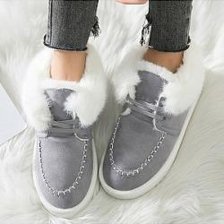 Plain  Flat  Velvet  Round Toe  Casual Date  Short Flat Boots