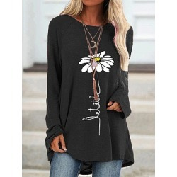 Berrylook Round Neck Print Long Sleeve T-shirt online shopping sites, clothing stores, found on Bargain Bro India from Berrylook for $17.95