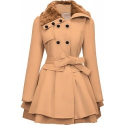 Berrylook Charming Fold-Over Collar Double Breasted Swing Coat cheap online stores, sale, warm jackets for women, womens parka coats