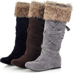 Berrylook Plain Flat Velvet Round Toe Mid Calf Flat Boots clothing stores, clothes shopping near me,