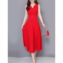 Berrylook V Neck Plain Maxi Dress online sale, online, Fitted Maxi Dresses, sundress, vintage dresses