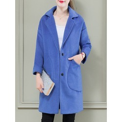Berrylook Women's Casual Loose Single-Breasted Long Sleeve Woolen Coat sale, cheap online shopping sites, Solid Coats, warm jackets for women, red jacket womens