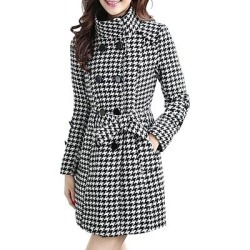 Berrylook Band Collar Double Breasted Belt Houndstooth Coats shop, online shop, womens casual jackets, cute winter coats