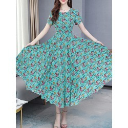 Berrylook Round Neck Printed Maxi Dress sale, cheap online stores, printing Maxi Dresses, sundress, petite dresses
