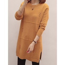 Berrylook Round Neck Plain Knit Pullover clothing stores, online sale, cardigan sweaters for women, pullover sweater