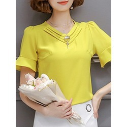 Berrylook V Neck Elegant Plain Short Sleeve Blouse sale, stores and shops, Solid Blouses, summer tops for women, work blouses