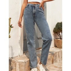 Berrylook Fashion casual retro washed denim trousers online stores, clothing stores, found on Bargain Bro India from Berrylook for $24.95