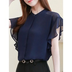 Berrylook Band Collar Plain Short Sleeve Blouse online, online sale, Solid Blouses, summer tops, tunic tops for women