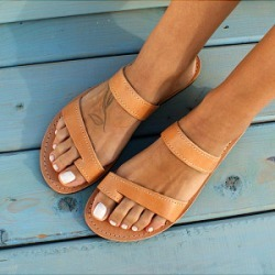 Berrylook Women Casual Solid Color Comfortable Flat Sandals clothes shopping near me, sale, Solid Sandals,