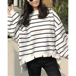 Berrylook Women's Striped Long-Sleeved Hoodie online, fashion store, sweatshirts for women, hoodie shirt