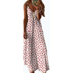 Berrylook V Neck Decorative Buttons Floral Printed Maxi Dress online sale, online, a line dress, off the shoulder dress