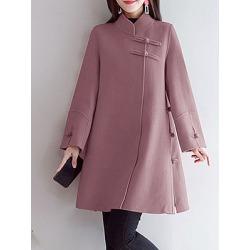 Berrylook Women's Retro Disc Button Woolen Coat online sale, shop, Solid Coats, warm jackets for women, jackets for women