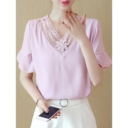 Berrylook V Neck Patchwork Lace Bell Short Blouse shoping, sale, splice Blouses, silk blouse, white shirt womens