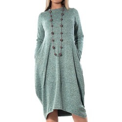 Berrylook Solid Color Long Sleeve Round Neck Dress clothing stores, sale, shirt dress, semi formal dresses found on MODAPINS from Berrylook for USD $25.95