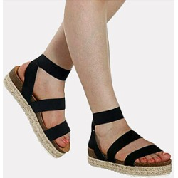 Berrylook Casual ladies peep-toe straw fisherman platform sandal clothes shopping near me, sale, Animal Sandals,