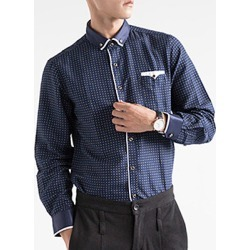 Office Button Down Collar Patch Pocket Printed Men Shirts