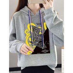 Berrylook Casual Printed Long Sleeve Hoodie online shop, online sale, printed Hoodies, red hoodie, mens sweatshirts
