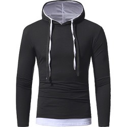 Berrylook Color Block Fake Two-Piece Men Hoodie clothing stores, clothes shopping near me, Color Men Hoodies,