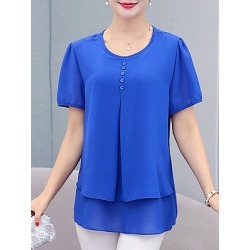 Berrylook Round Neck Plain Short Sleeve Blouse online sale, shoppers stop, Solid Blouses, summer tops for women, tops for women