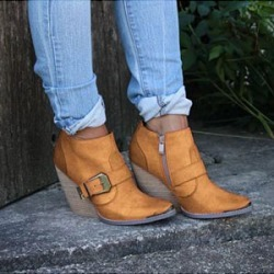Berrylook Women's casual solid color belt buckle decorative ankle boots stores and shops, online sale,