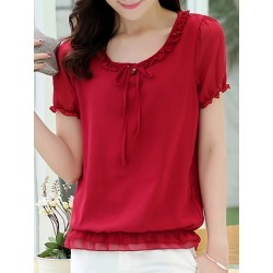 Berrylook Round Neck Plain Short Sleeve Blouse cheap online shopping sites, clothing stores, Solid Blouses, summer tops for women, silk blouse