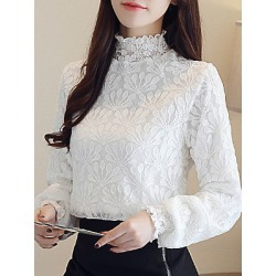 Berrylook Band Collar Patchwork Lace Long Sleeve Blouse sale, online sale, splice Blouses, work blouses, summer tops