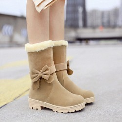 Berrylook Casual female students bowknot low-heel snow boots clothes shopping near me, sale,