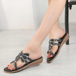 Berrylook Elegant Women Dragonfly Rhinestone Flat Sandals clothing stores, sale,