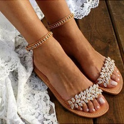 Berrylook Bohemian Flat Ankle Strap Peep Toe Date Travel Wedding Flat Sandals shoping, online sale, Bohemian Flat Sandals, found on Bargain Bro Philippines from Berrylook for $28.95