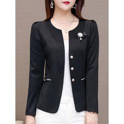 Berrylook Fashion womens pure color single-breasted blazer cheap online stores, sale, Solid Blazers, black blazer, wool blazer womens