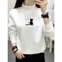 Berrylook Fashion Loose Plus Velvet Thickening Sweatshirt clothes shopping near me, cheap online shopping sites, cartoon Sweatshirts, sweatshirts for women, white sweatshirt