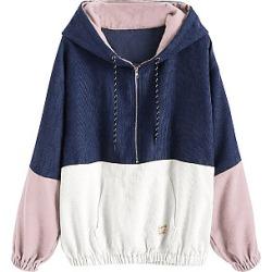 Berrylook Casual Colouring Long Sleeve Hoodie clothing stores, sale, Colouring Hoodies, cool hoodies, zip up hoodies