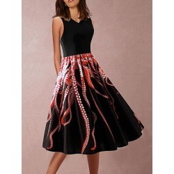 Berrylook V Neck Print Skater Dress online sale, sale, Flared Skater Dresses, fit and flare dress with sleeves, skater dress