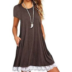 Berrylook Round Neck Patch Pocket Patchwork Shift Dress sale, clothes shopping near me, Fitted Shift Dresses, womens linen clothing, shift dress pattern