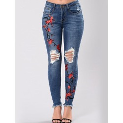 Berrylook Distressed Embroidery Raw-Hem Slim-Leg Jeans cheap online shopping sites, shoping, high waisted leggings, pink leggings
