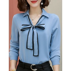 Berrylook V Neck Bow Patchwork Long Sleeve Blouse online sale, cheap online stores, peasant blouse, blouses for women