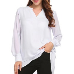 Berrylook V Neck Patchwork Brief Plain Long Sleeve Blouse online sale, sale, cute tops for women, dressy tops