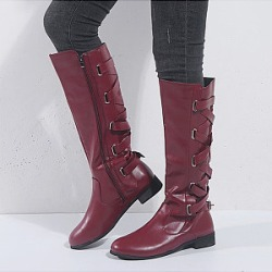 Berrylook Plain Flat Round Toe Date Outdoor Flat Boots sale, cheap online stores, found on Bargain Bro India from Berrylook for $30.95
