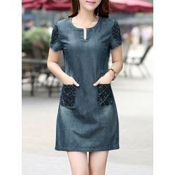 Berrylook Round Neck Patch Pocket Shift Dress online shop, online sale, Shift Shift Dresses, below the knee dresses, short sleeve shift dress